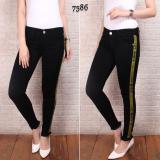 Celana Jeans Wanita Pr Import Hitam Garis Kuning Murah