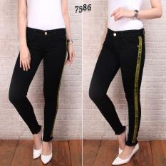 Kualitas Celana Jeans Wanita Pr Import Hitam Garis Kuning Celana Jeans Cewek