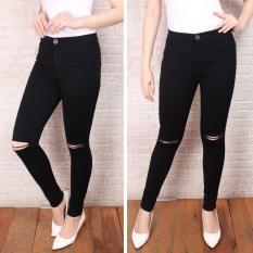 Celana jeans wanita ripped / celana jeans wanita sobek softjeans / celana jeans wanita skinny / jeans wanita hitam-putih slimfit / size 27-32