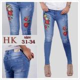 Diskon Celana Jeans Wanita Straight Skinny Motif Bunga Hk5 Tjk