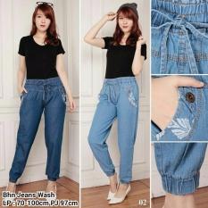 Celana joger panjang jeans wanita jumbo long pant Kiera - biru tua