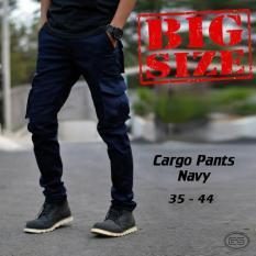 Celana Kargo Panjang Navy  Big Size  Cargo  Gunung  Biru  Pdl - Ofx5vt