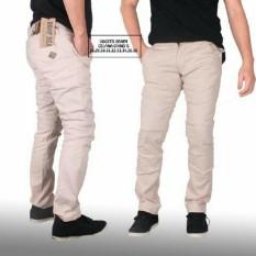 3R celana panjang katun chino pria crem