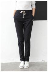 Linen Longgar Ukuran Besar Bahan Jeans Lurus Celana Katun Celana (Hitam) (Hitam) Baju Wanita Celana Wanita