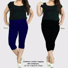 Spesifikasi Celana Legging Pendek Wanita Jumbo Short Pant Dual Hitam Celana Terbaru