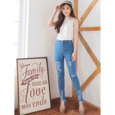 Spesifikasi Legging Celana Jeans Skinny Wanita Light Ripped Jeans Korea Punk Maz Fr8262 Ancien Store Lengkap