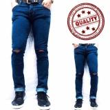 Spek Celana Murah Jeans Pria Ripped Sobek Biru Navy Raja Clothing