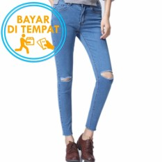 Celana Murah Jeans Ripped Sobek Wanita Light Blue