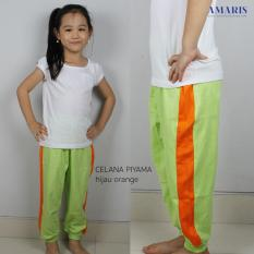 Celana Panjang - Celana Pajamas Anak - Hijau List Orange - Amaris
