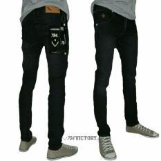 Celana panjang jeans denim pria jeans sekiny slim fit denim (black jezz)