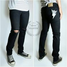 Celana Panjang Jeans Pria - Hitam Robek