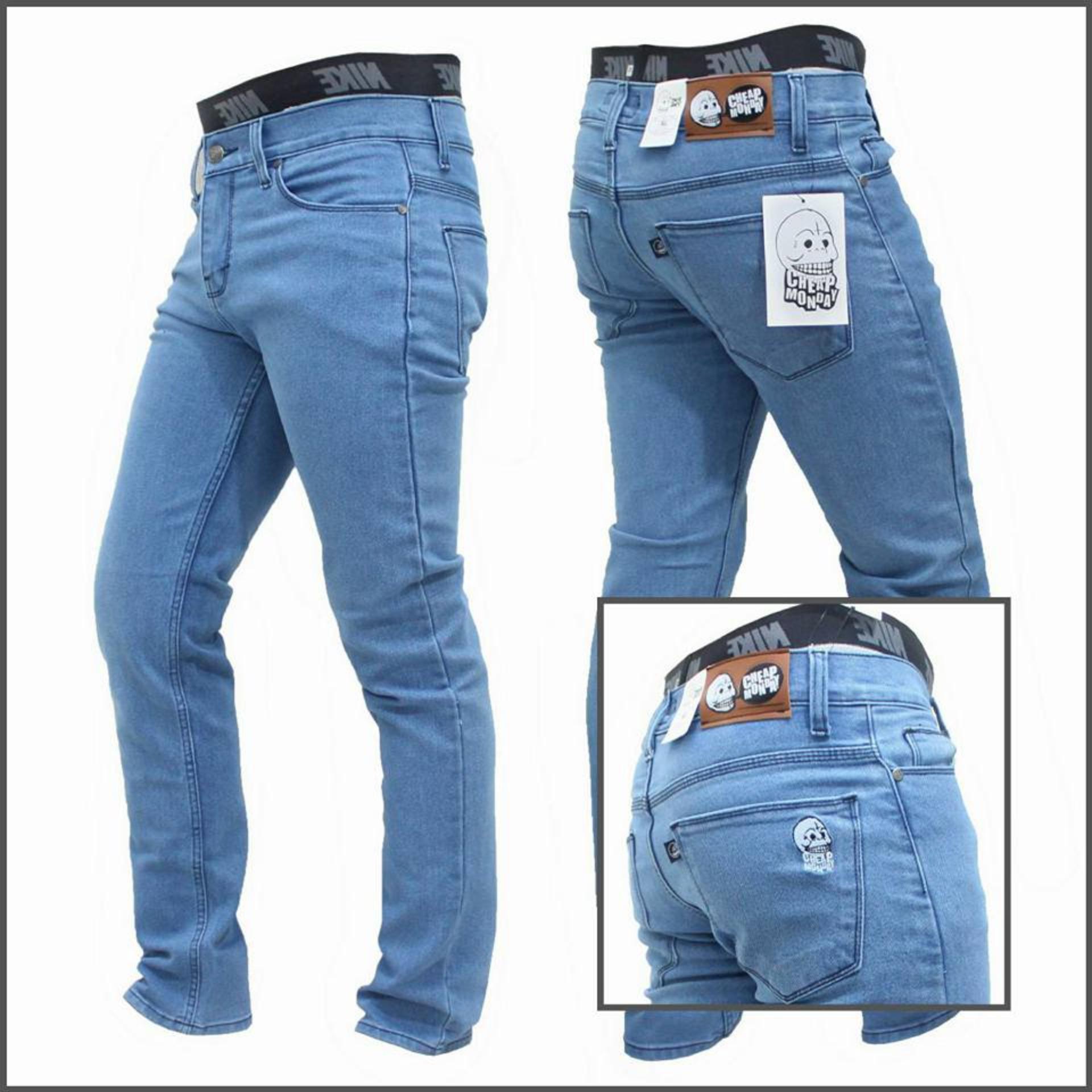 Best Seller Celana Panjang Jeans Skinny Pensil Cheap Monday - Biru Muda (BioBlitz)