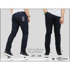 Celana Panjang Pria Chino Cino Premium Polos Biru Navy Dongker Cino Panjang Slimfit Diskon Jawa Barat