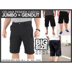 Celana Pendek Cargo Hitam Super Gendut Gemuk Jumbo Big Size Kargo - 3B9E95
