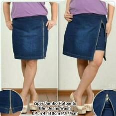 Harga Celana Pendek Hot Pant Jeans Wanita Jumbo Short Pant Zipora Terbaik