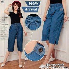 Harga Celana Pendek Jeans Jumbo Wanita Short Pant Tiana Biru Tua Lengkap