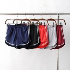 Celana Pendek Wanita Casual High Waist Pinggang Karet Aksen Lis Warna Polos Untuk Olahraga