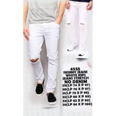 celana pria jeans putih sobek dengkul murah promo