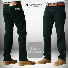 Celana Pria/Cowok Regular Standard Jeans / Denim [Hitam/Black] Celana Jeans Panjang Big Size/Besar/Jumbo North Siberian