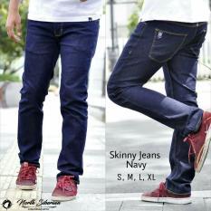 Beli Celana Pria Cowok Slimfit Skinny Jeans Denim Navy Biru Tua Gelap Celana Jeans Panjang North Siberian Yang Bagus