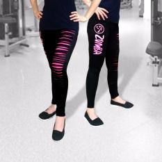 Celana Senam Legging Panjang Zumba Sobek Hitam - Pink