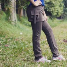 Celana senam rok kantong hijau army