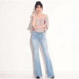 Toko Celana Wanita Miss Hotty Fringe Cutbray Biru Muda Jeans Rumbai Rawis Tjk