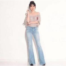 Model Celana Wanita Miss Hotty Fringe Cutbray Biru Muda Jeans Rumbai Rawis Terbaru