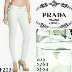 celana wanita straight/karet fit skinny warna -putih