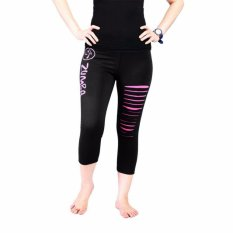 Promo Celana Senam Legging Pendek Zumba Sobek Hitam Pink Zumba Terbaru