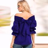 Jual Celmia Womens Ladies Fashion Off Bahu 3 4 Lengan Ruffle Borgol Kembali Ikatan Simpul Dasi Kasual Baju Longgar Tops Blus Royal Intl