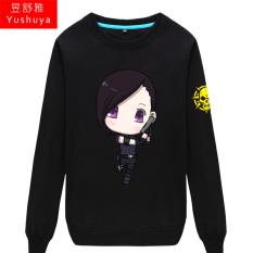 CF Karakter Kartun Pria atau Wanita Bagian Tipis Kaos Sweater (HITAM 1)