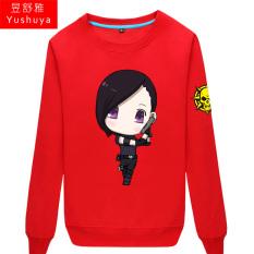 CF Karakter Kartun Pria atau Wanita Bagian Tipis Kaos Sweater (Merah 1)