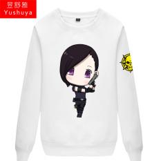 CF Karakter Kartun Pria atau Wanita Bagian Tipis Kaos Sweater (Putih 1)
