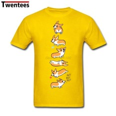 Jual Murah Modis Kaus Lucu Corgi Anjing Pria Kaus Kasual Lengan Pendek Putih (Kuning)-Internasional