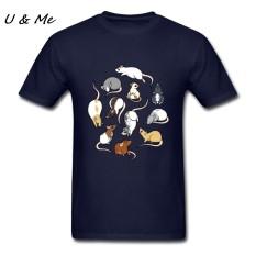 Jual Murah Modis Kaus Maker Lucu Tikus Pria Kaus Heather Pakaian untuk Kartun-Biru Angkatan Laut-Internasional