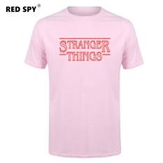 Jual Murah Pria T Kaus Modis Stranger Sesuatu Pria Kaus Katun Pria Lengan Pendek Kemeja Kaus Pria Merah Muda -Internasional