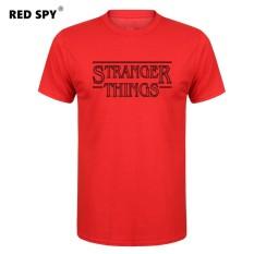 Jual Murah Pria T Kaus Modis Stranger Sesuatu Pria Kaus Katun Pria Lengan Pendek Kemeja Kaus Pria Merah-Internasional
