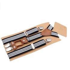 CHEER Anak-anak 4 Klip Stripe Suspender Adjustable Sabuk Y bentuk Belakang Suspender