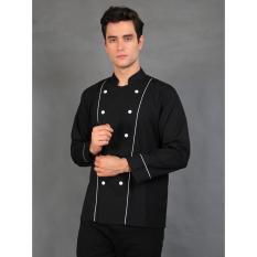 Chef Series Basic Tangan Panjang Baju Koki - Hitam Garis Putih