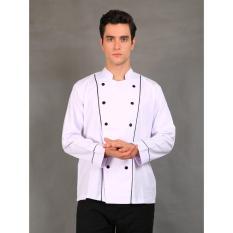Chef Series Basic Tangan Panjang Baju Koki - Putih Garis Hitam