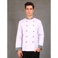 Chef Series Pearl Series Tangan Panjang Baju Koki - Putih Hitam