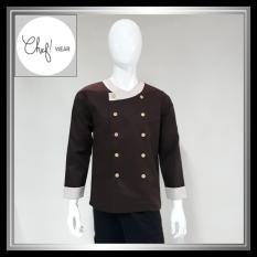 Chef Wear Baju Koki Coklat Tua Leher Bulat Lengan Panjang S-XL