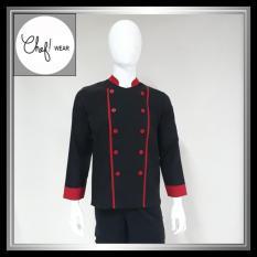 Chef Wear Baju Koki Hitam Komb Garis Merah S-XL