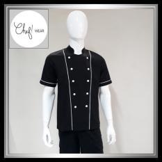 Chef Wear Baju Koki Hitam Lengan Pendek S-XXL (bis putih)