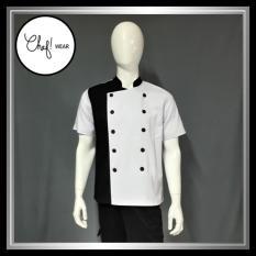 Chef Wear Baju Koki Komb Putih-Hitam Lengan Pendek S-XL
