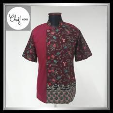 Chef Wear Baju Koki Merah Komb Batik Marun Lengan Pendek S-XL