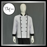 Harga Chef Wear Baju Koki Putih Komb Garis S Xl Asli