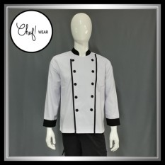 Chef Wear Baju Koki Putih Komb Garis S-XL