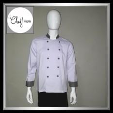 Chef Wear Baju Koki Putih Komb Ktk Htm S-XL